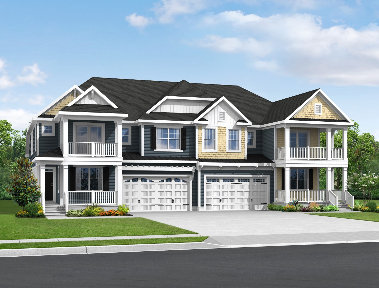 The hatteras floor plan schell brothers for Twin home plans